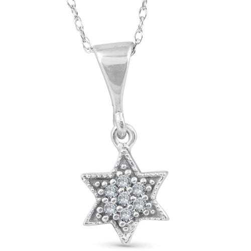 14K 1/15ct Pave Star Of David Diamond Dangle Pendant (G/H, I2)