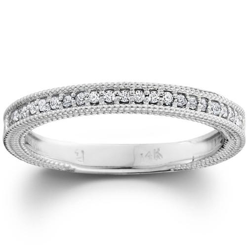 Diamond Wedding Ring 1/5ctw Womens Stackable Diamond Band 10k White Gold (G/H, I1)
