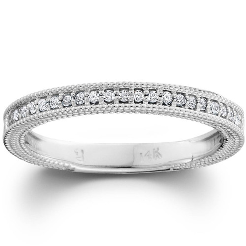 Diamond Wedding Ring 1/5ctw Womens Stackable Diamond Band 10k White Gold (G/H, I1)