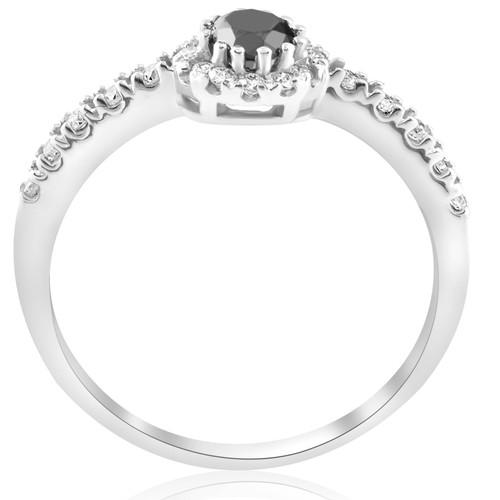 1ct Black & White Diamond Engagement Halo 14K White Ring Round Cut (G/H, I2)