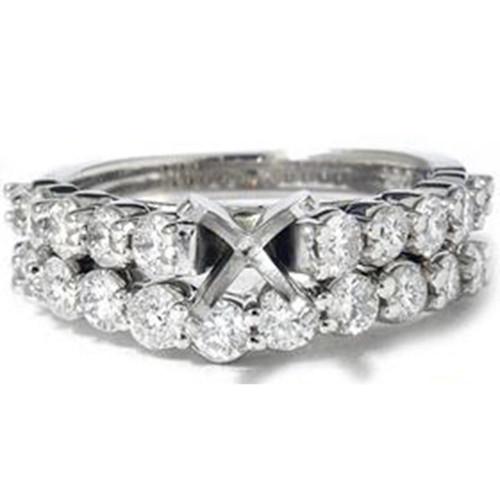 White Gold 1 1/2ct G SI Diamond Engagement Wedding Ring Set (G, SI)