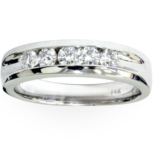 Mens 3/4ct Diamond White Gold Wedding Ring Band New (G/H, I1)