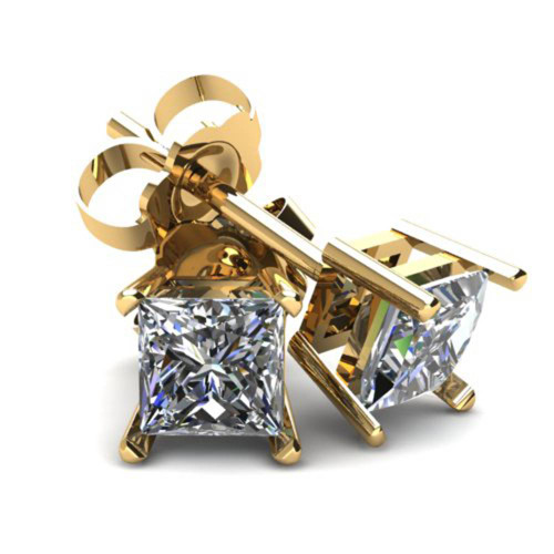 .50Ct Square Princess Cut Natural Diamond Stud Earrings in 14K Gold Basket Setting (G/H, I2-I3)