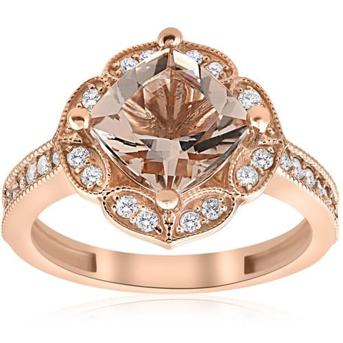 2 1/3ct Cushion Morganite Vintage Diamond Halo Engagement Ring 14K Rose Gold (G/H, I1)