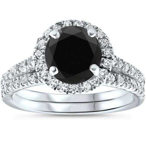 2 1/2 Ct Treated Black Diamond Halo Engagement Wedding Ring Set 14K White Gold (H/I, I1-I2)