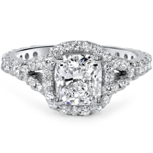 1 3/4ct Cushion Cut Diamond Halo Split Shank Engagement Ring 14K White Gold (H/I, SI2)