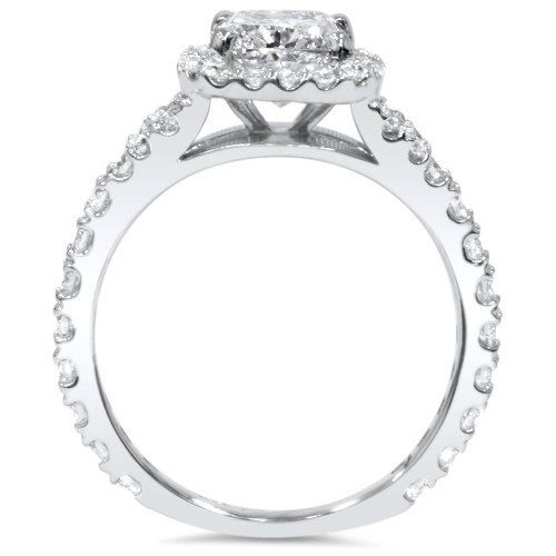 1 3/4ct Cushion Cut Diamond Halo Split Shank Engagement Ring 14K White Gold (H/I, SI2)