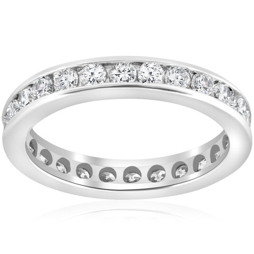 1 1/2ct Channel Set Diamond Eternity Ring 950 Platinum (G/H, SI2-I1)