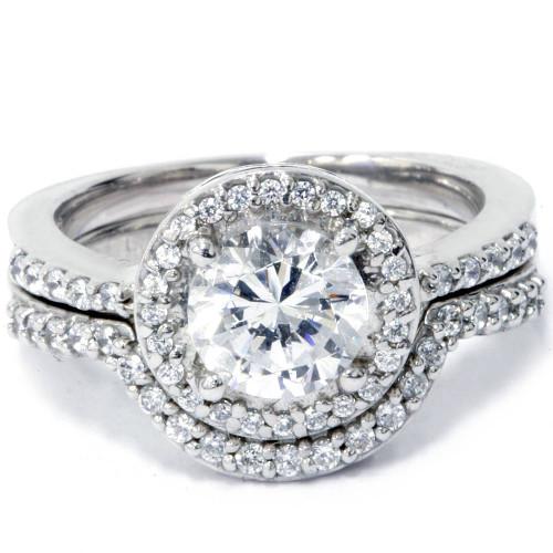 2 3/4ct Halo Diamond Engagement Wedding Ring Set 14K White Gold (H/I, I2-I3)