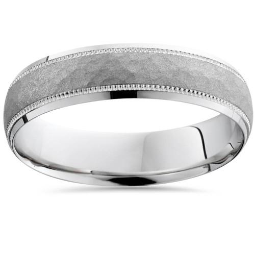 14K White Gold Mens Hammered Textured 5mm Wedding Ring