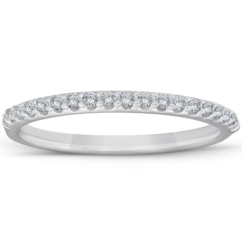 1/8ct White Gold Diamond Anniversary Wedding Guard Ring (G/H, I1)