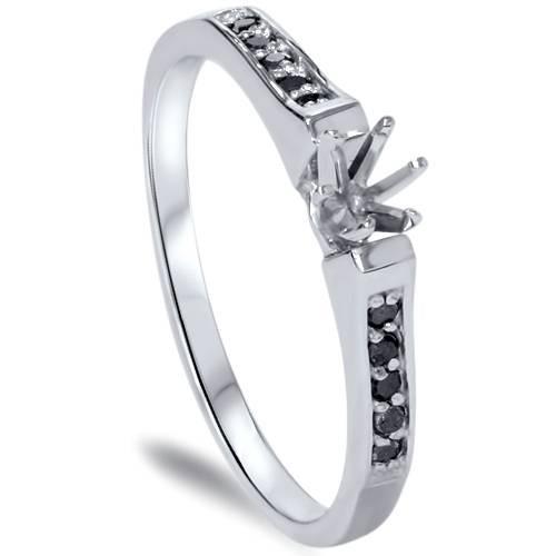 1/6ct Black Diamond Ring 14K White Gold (Black, AAA)