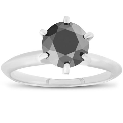 1ct Black Diamond Solitaire Engagement Ring 14K White Gold (Black, )