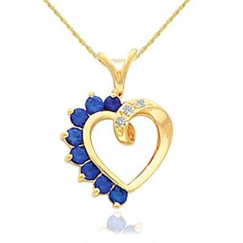 "5/8ct Blue Sapphire & Diamond Heart Pendant 14 Karat Yellow Gold 1"" Tall (G/H, I1-I2)"