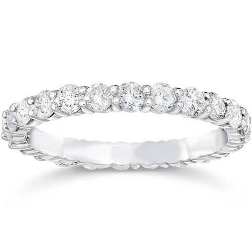 1 1/2ct Prong Diamond Eternity Ring 14K White Gold (G/H, SI)