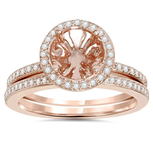 1/3CT Rose Gold Halo Diamond Engagement Ring Setting & Band 14K (H/I, I1-I2)