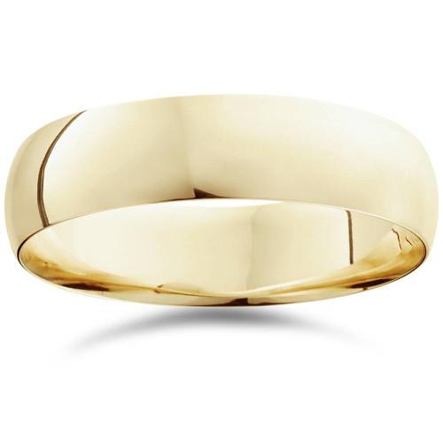 6mm Dome High Polished Wedding Band 14K Yellow Gold