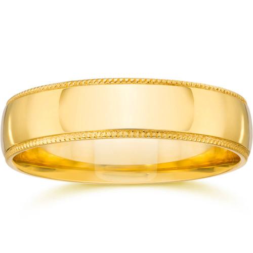 4mm Milgrain Wedding Band 14K Yellow Gold