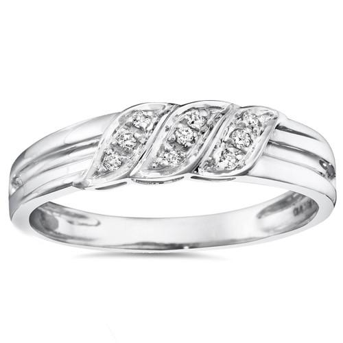 Mens Diamond Ring 10K White Gold (I/J, I2-I3)