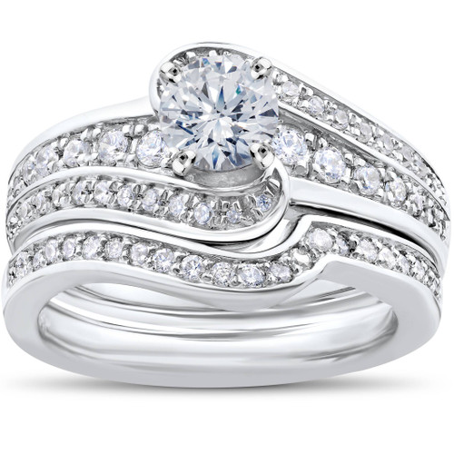 1 ct Diamond Round Solitaire Engagement Ring Wedding Band Set 14k White Gold Set (G/H, I1)