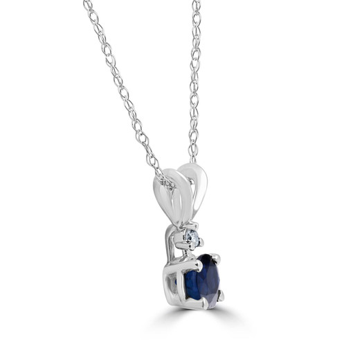 1ct Blue Sapphire & Diamond Solitaire Pendant 14K White Gold (J/K, I2-I3)