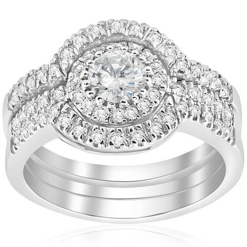 2ct Round Enhanced Diamond Engagement Halo Wedding Ring Trio Set 14K White Gold (G-H, I1)