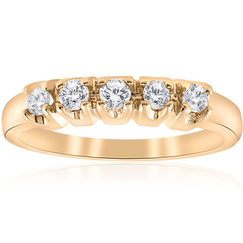 1/2ct Round Diamond Wedding Anniversary 14K Gold Ring (G/H, I1)