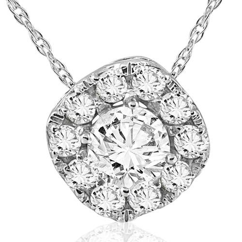5/8ct Cushion Halo Round Diamond Pendant 14K White Gold (G/H, I1-I2)