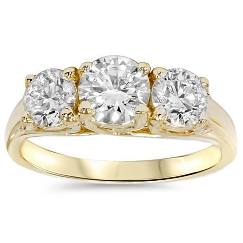 1 3/8ct Gold Three Stone Diamond Ring 14K Yellow Gold (G/H, I1)