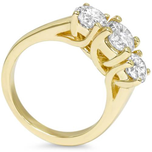 1 3/8ct Gold Three Stone Diamond Ring 14K Yellow Gold (G/H, I1)