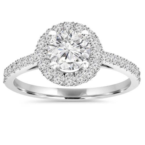 1CT Halo Round Diamond Engagement Ring 14K White Gold (E, SI(1)-SI(2))
