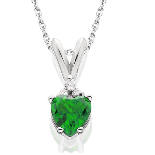 1/2ct Diamond & Simulated Emerald Heart Pendant 14K White Gold (G, I1)