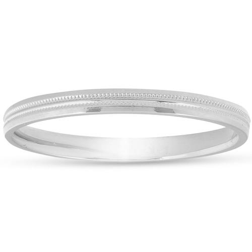 2mm 14K White Gold Milgrain Wedding Band Ring Brand