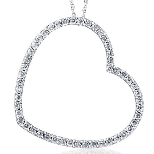 1ct Real Diamond Large Heart Shape Pendant White Gold (I-J, I1-I2)