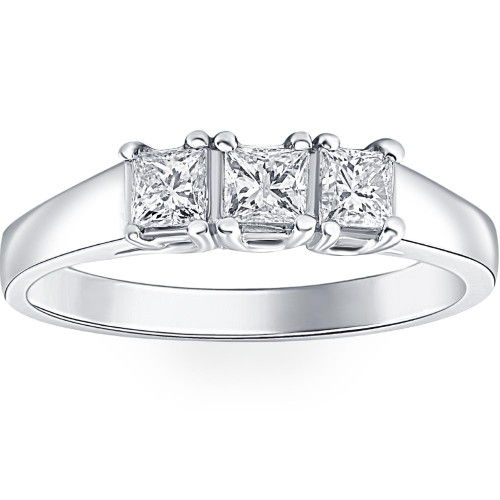 1ct Three Stone Princess Cut Diamond Ring 14K White Gold (H/I, I1)