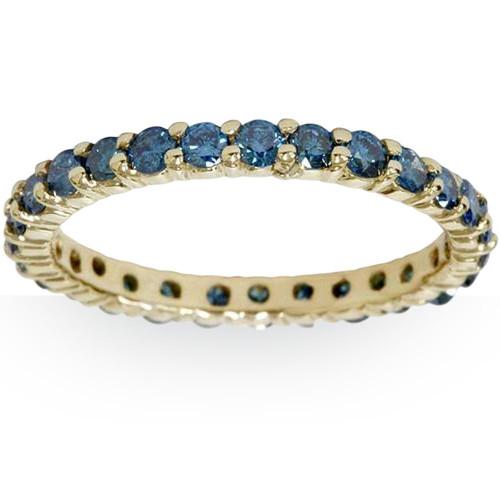 1 1/2ct Round Treated Blue Genuine Diamond Eternity Wedding Ring 14K Yellow Gold (Blue, I1)