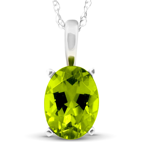 """2ct Oval Shape Peridot Solitaire Pendant 14K White Gold With 18"""" Chain"""