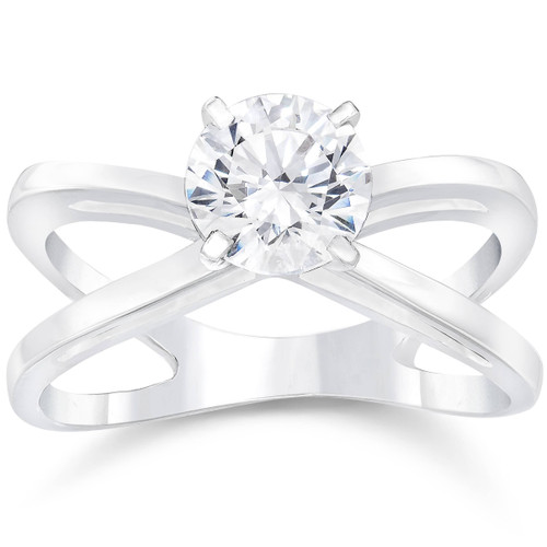 1ct Round Cut Diamond Solitaire Engagement Ring 14k White Gold (F, VS)