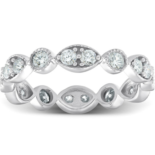 1ct Diamond Eternity Stackable Ring 14K White Gold (H/I, I1-I2)