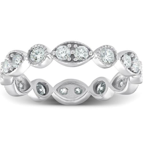 1ct Diamond Eternity Stackable Ring 14K White Gold (H/I, I1-I2)