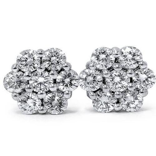 1ct Pave Fire Diamond Studs 14K White Gold (G-H, I1)