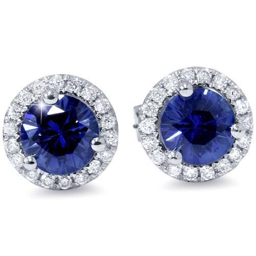 1 ct Blue Sapphire Diamond Halo Studs Earrings 10k White Gold (F, VS)