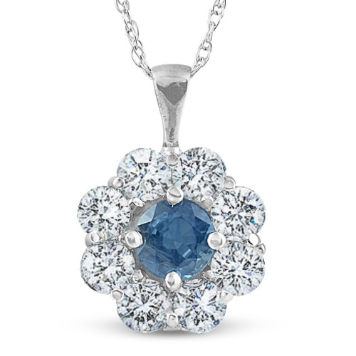 1 1/4ct Blue Sapphire & Diamond Halo Pendant 14K White Gold (G/H, I1)