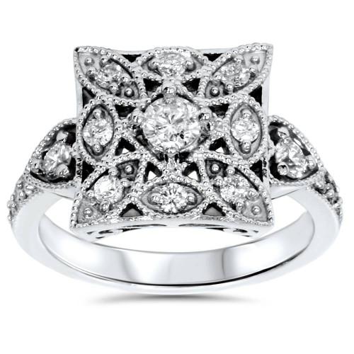 G/SI 5/8ct Vintage Antique Style Genuine Diamond Anniversary Ring White Gold (G, SI)