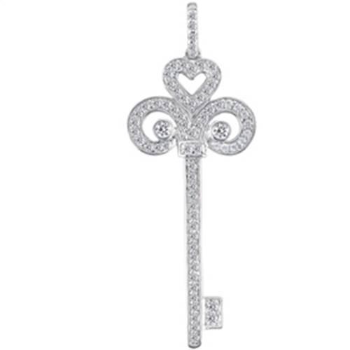 1 1/6ct HUGE Real Diamond Key 14K White Gold Pendant (G/H, I1)