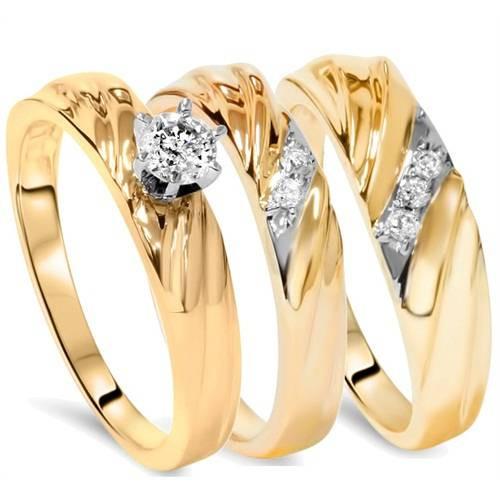 1/3ct Diamond Engagement Trio Wedding Band Set 14K Yellow Gold (G/H, I1-I2)