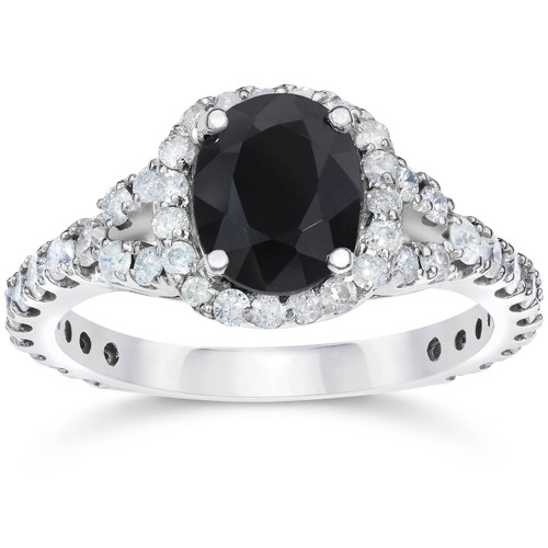 2 ct Black Sapphire & Diamond Cushion Halo Engagement Ring 14K White Gold (H/I, I1)