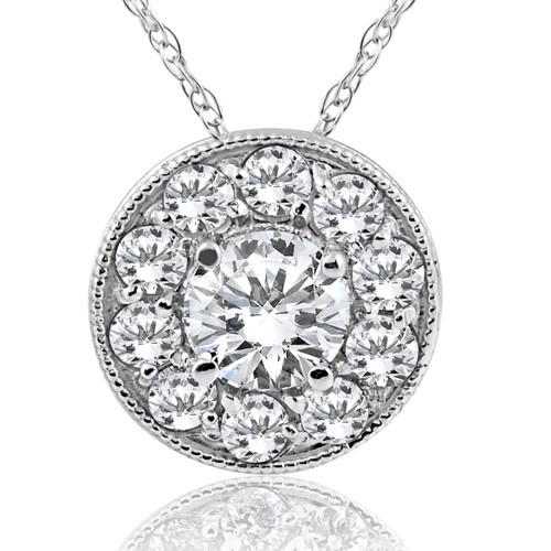 5/8ct Halo Diamond Solitaire Pendant 14K White Gold Vintage ((G-H), SI(1)-SI(2))