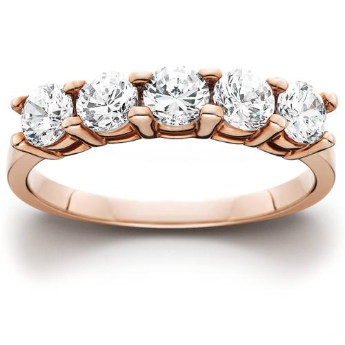 1 cttw 5-Stone Round Cut Diamond Wedding Anniversary Ring 14K Rose Gold (H/I, I1-I2)