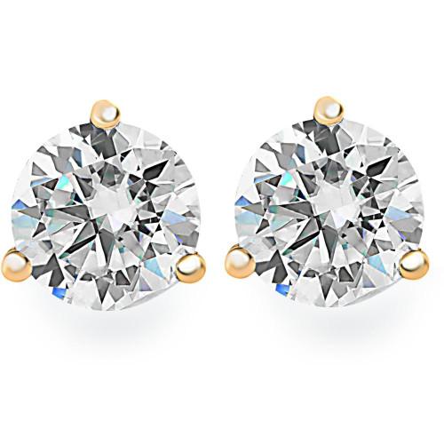 1.25Ct Round Brilliant Cut Natural Diamond Stud Earrings in 14K Gold Martini Setting (G/H, I2-I3)